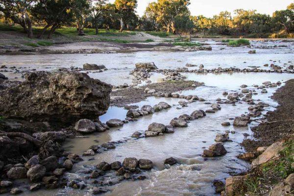 Aboriginal fish traps and weir on Barwon River at Brewarrina, NSW